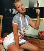 сексуальная Ксения Собчак с ножом в вызывающей и эротической позе