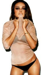 Сексуальная полуголая Мила Кунис в прозрачной кофте