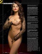голая  Настя Каменских прикрывает грудь и писю в эротическом журнале