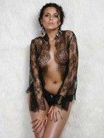 сексуальная  Настя Каменских в прозрачном белье голая