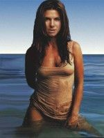 Сандра Буллок голая на море в мокрой майке